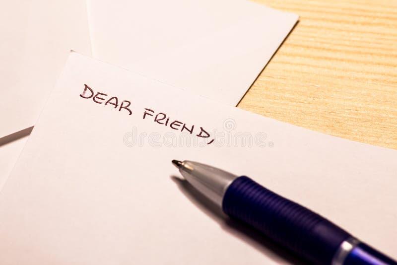 Incipit μιας επιστολής σε έναν φίλο στοκ εικόνα