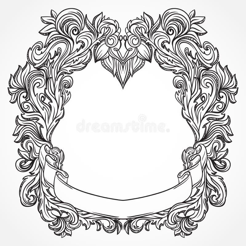 Incisione antica della struttura del confine con il retro modello dell'ornamento Elemento decorativo di progettazione d'annata ne royalty illustrazione gratis
