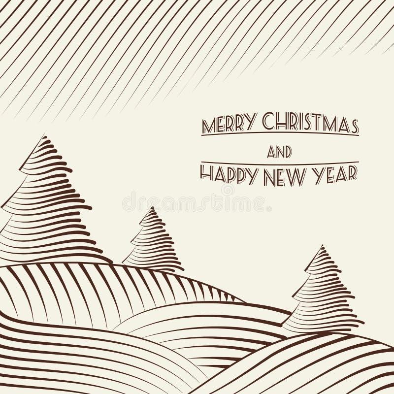 Incisione degli alberi di Natale sulle colline. illustrazione di stock