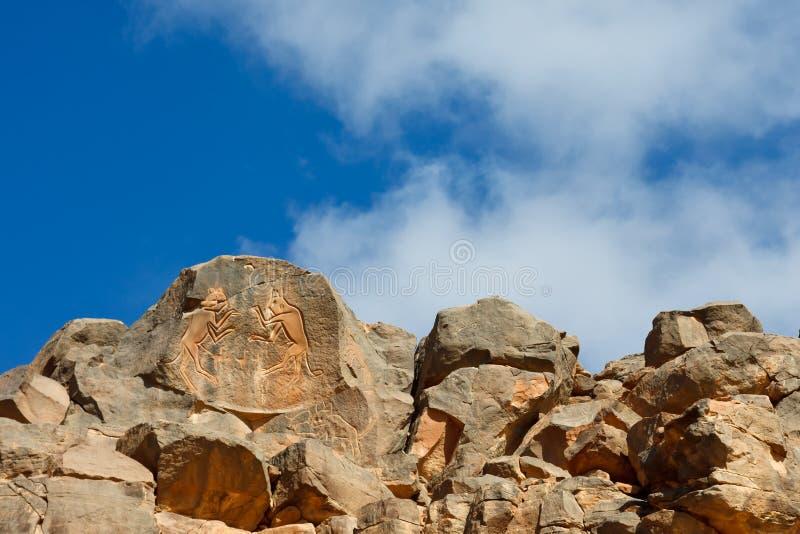 ?Incisione Dei Gatti Di Combattimento?, Wadi Mathendous Fotografia Stock Libera da Diritti