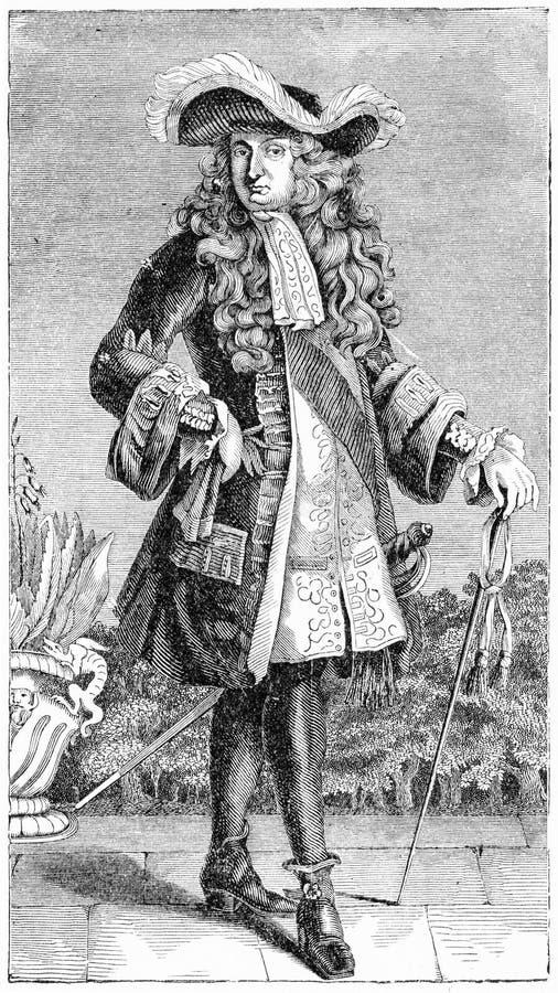 Incisione del re francese, Luigi XIV royalty illustrazione gratis