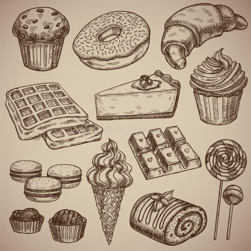 Incisione dell'insieme dolce: muffin, ciambella, croissant, cialde, torta di formaggio, capcake, maccheroni, barra di cioccolato, illustrazione vettoriale