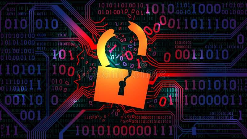 Incisione della parete refrattaria astratta, antivirus Serratura incisa contro lo sfondo di un codice binario del bordo elettroni illustrazione vettoriale