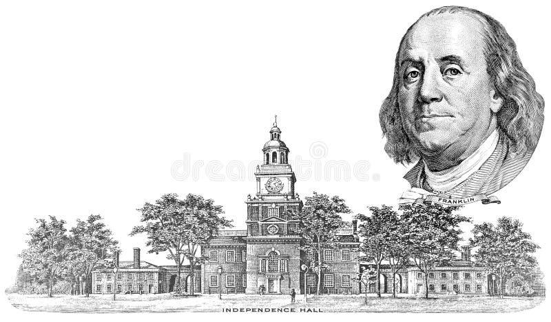 Incisione di Benjamin Franklin e di indipendenza Corridoio fotografie stock