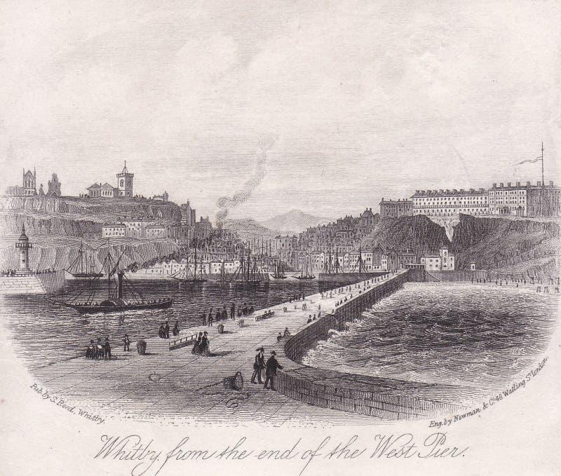 Incisione di Whitby negli anni 1800 fotografia stock