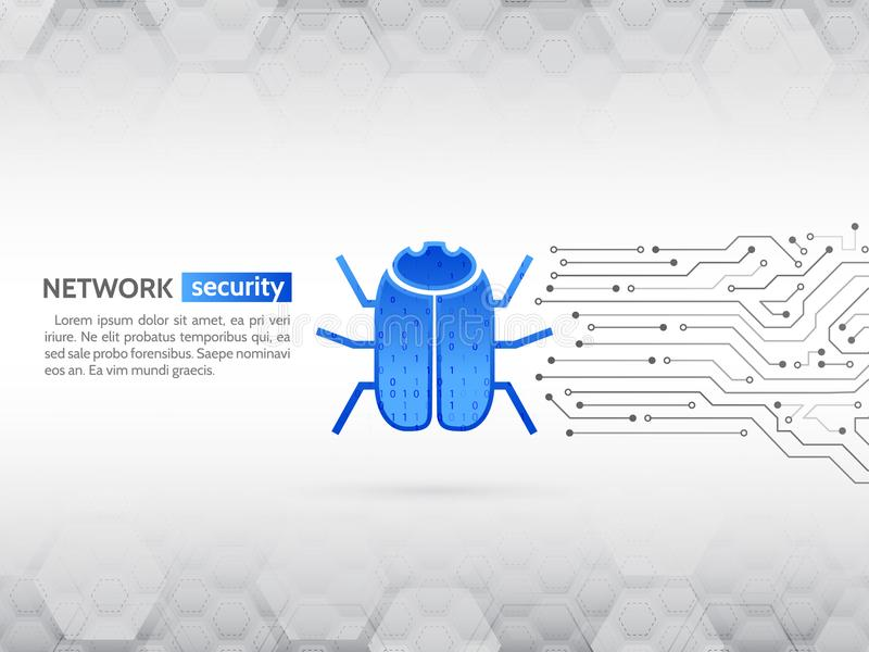 Incisione e crimine cyber Concetto personale di protezione dei dati Circuito alta tecnologia astratto con l'insetto del pirata in illustrazione vettoriale
