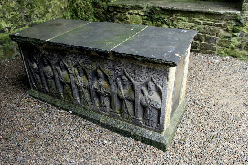 Incisioni complesse del sarcofago, roccia di Cashel, Irlanda, ottobre 2014 fotografia stock libera da diritti