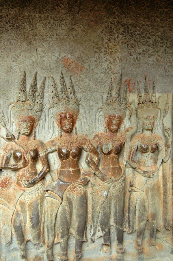 Incisioni della parete di Angkor Wat immagini stock