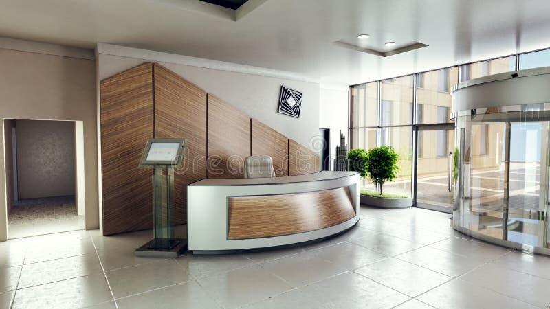 Incite a entrada com mesa de recepção em uma construção do centro de negócios ilustração royalty free