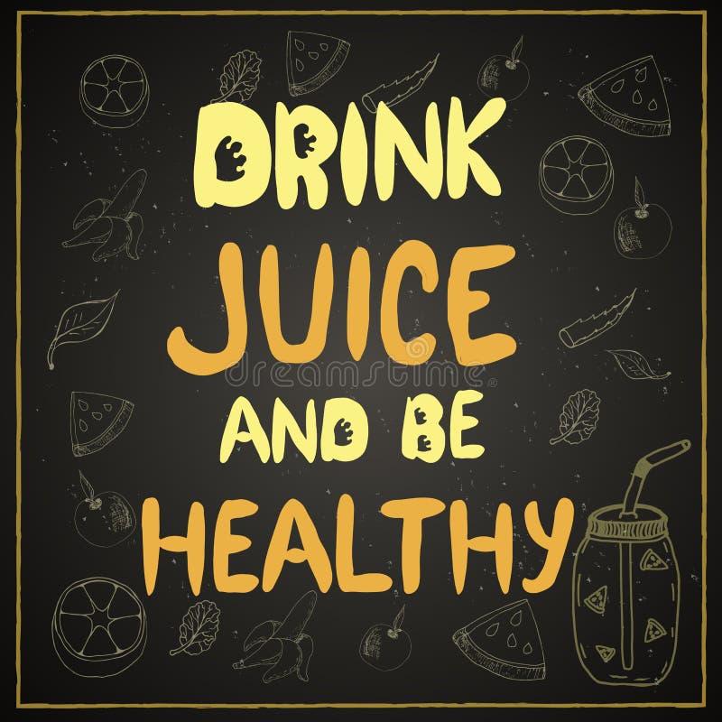 incite para beber o suco e ser saudável ilustração royalty free