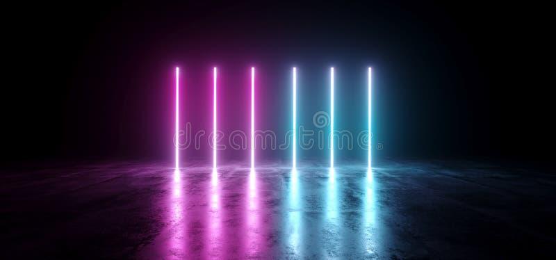 Inclinação abstrato futurista Glowin de néon cor-de-rosa roxo azul da ficção científica ilustração do vetor