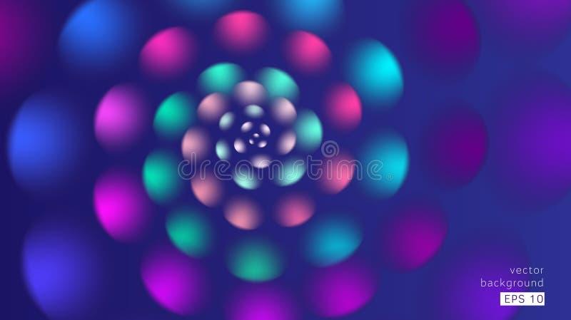 Inclinação azul cor-de-rosa das pétalas da flor da espiral do fundo do sumário ilustração do vetor