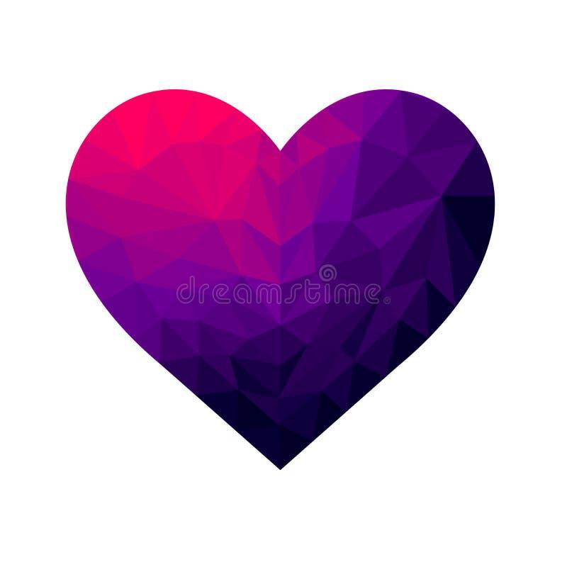 inclinação cintilante do coração poligonal com cores diferentes imagens de stock