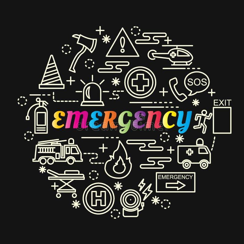 Inclinação colorido da emergência com linha ícones ajustados ilustração royalty free