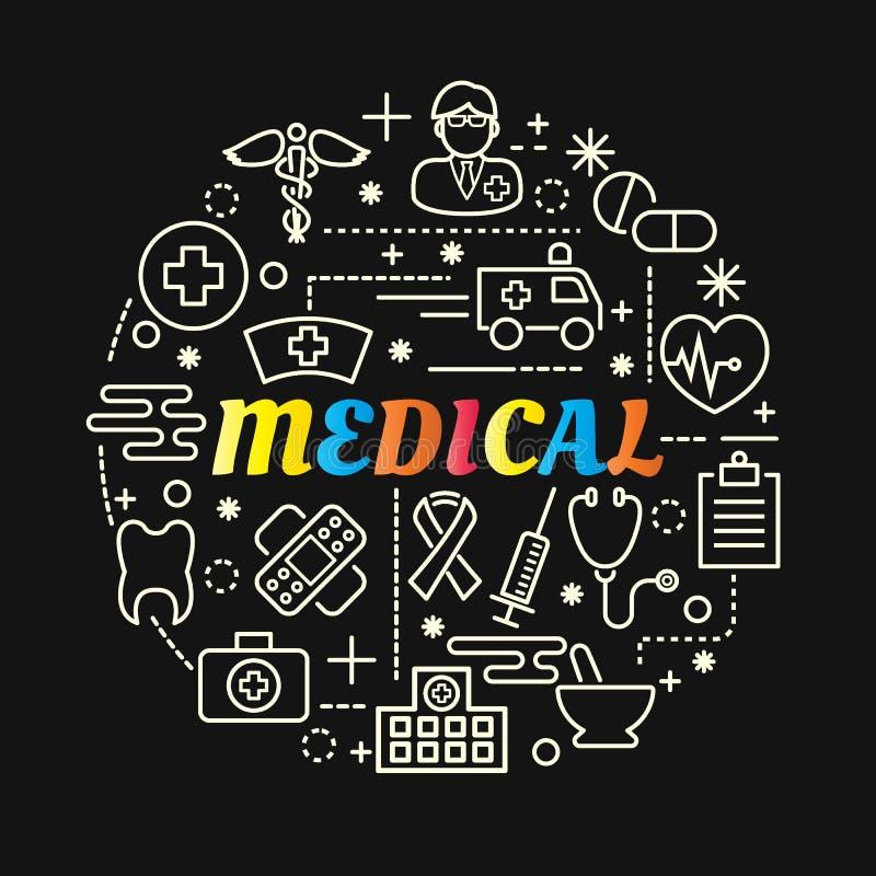 Inclinação colorido médico com linha ícones ajustados ilustração do vetor