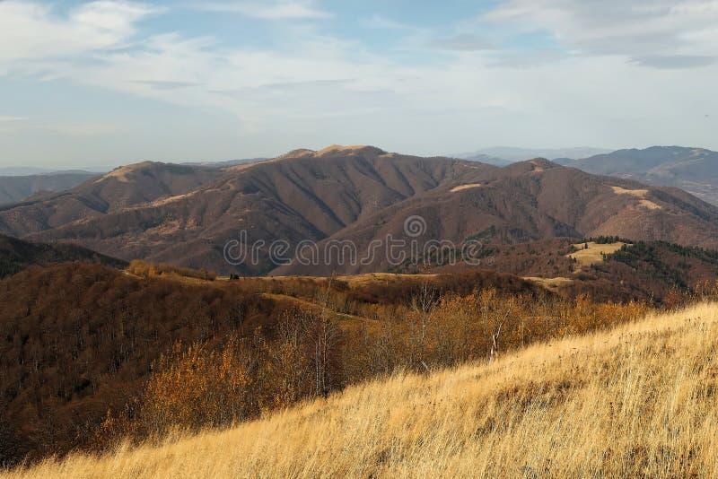 A inclinação de montanha que negligencia a paisagem bonita do outono das montanhas Carpathian fotografia de stock