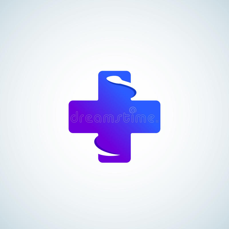 Inclinação moderno mais ou cruz com a serpente negativa do espaço Sinal, emblema, ícone ou Logo Template abstrato do vetor ilustração royalty free