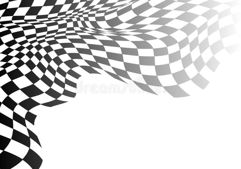 Inclinação quadriculado da onda da bandeira no branco para o fundo do vetor do sucesso comercial do campeonato da raça do esporte ilustração stock
