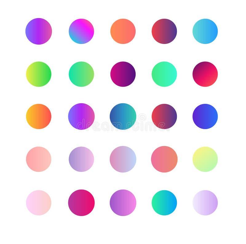Inclinações abstratos modernos da cor macia redonda ajustada no fundo branco ilustração do vetor