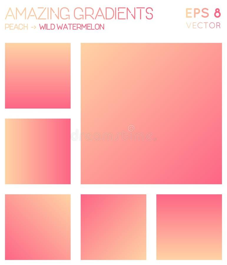 Inclinações coloridos no pêssego, melancia selvagem ilustração do vetor
