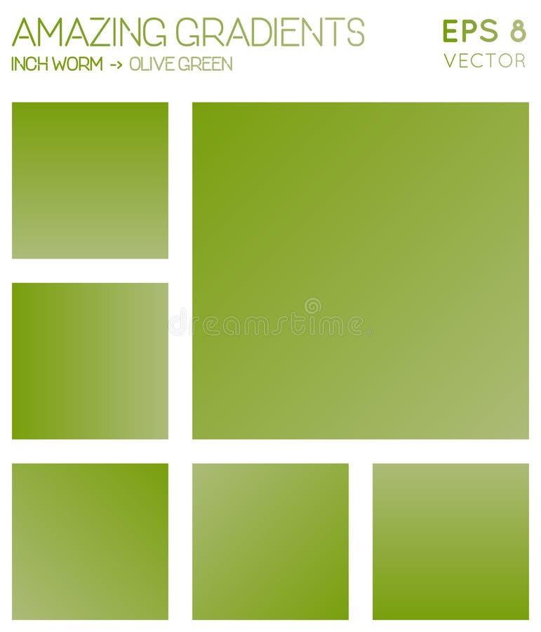 Inclinações coloridos no sem-fim da polegada, verde azeitona ilustração stock