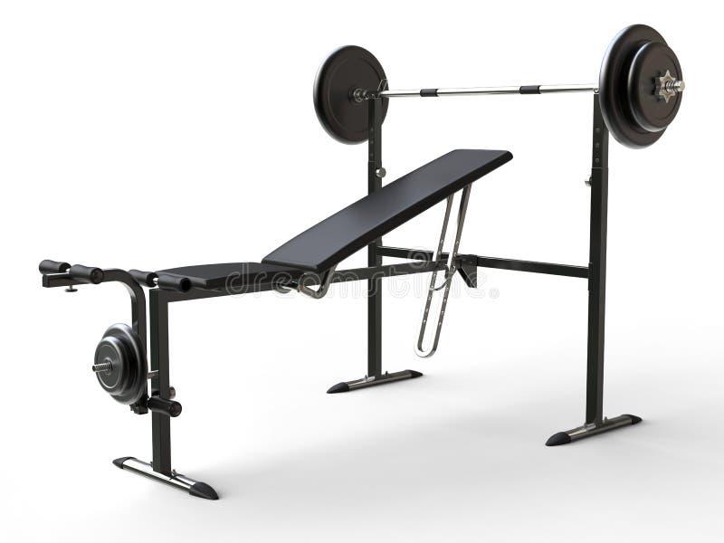 Incline o banco do gym com peso do barbell e as placas adicionais do peso ilustração royalty free