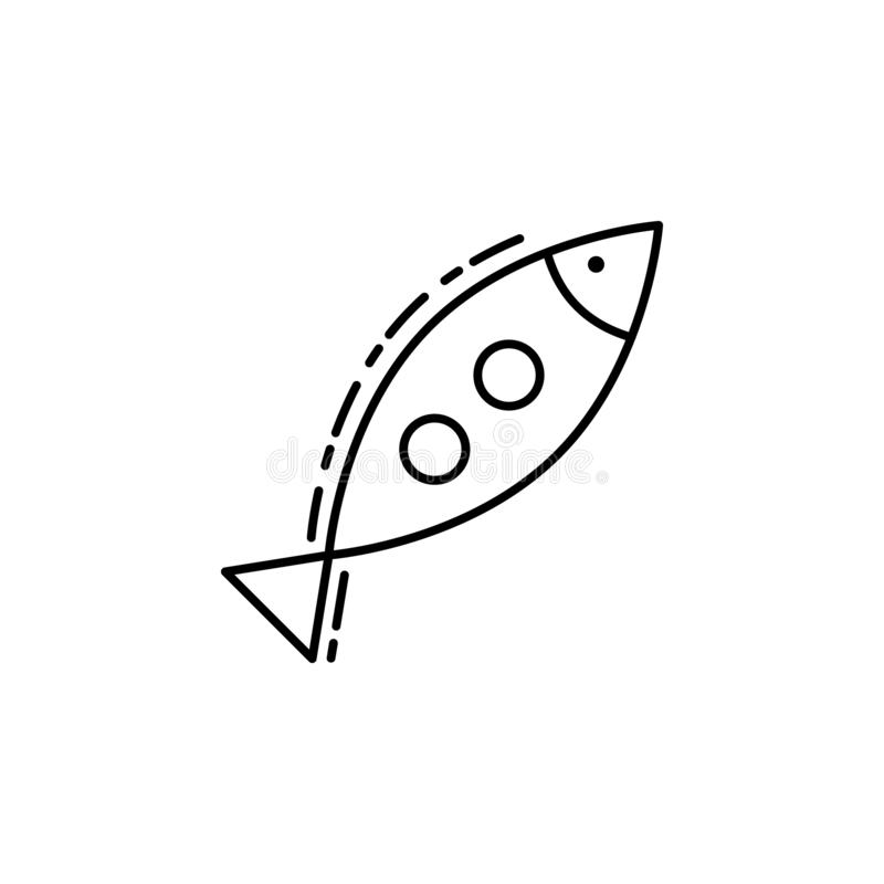 Inclined fish icon. Element of Jewish icon for mobile concept and web apps. Thin line Inclined fish icon can be used for web and m royalty free illustration