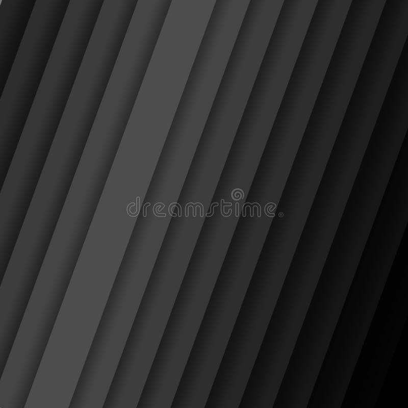 Inclined vector strips with shadow Abstract dark background pattern with diagonal stripes from gray to black color Contemporary royalty free illustration