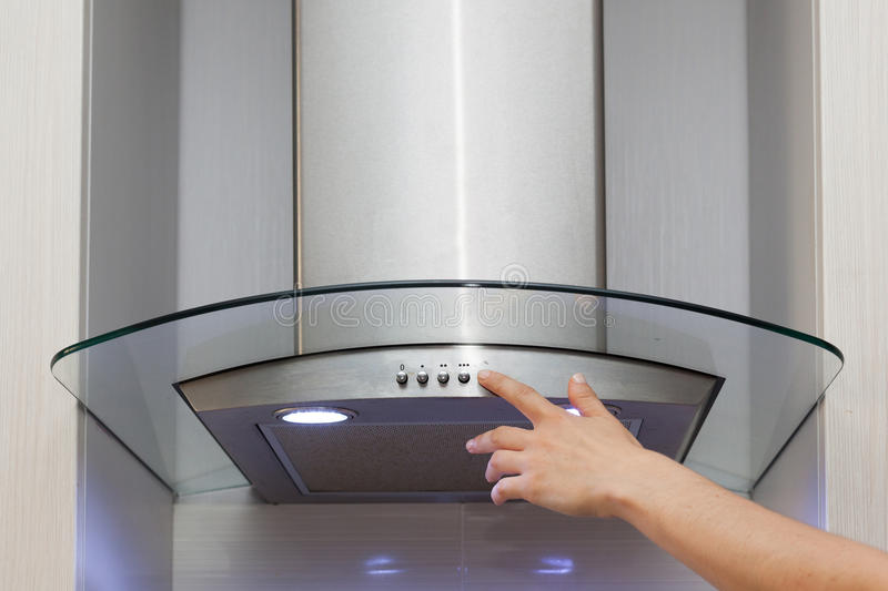 Included light on the extractor hood. stock images