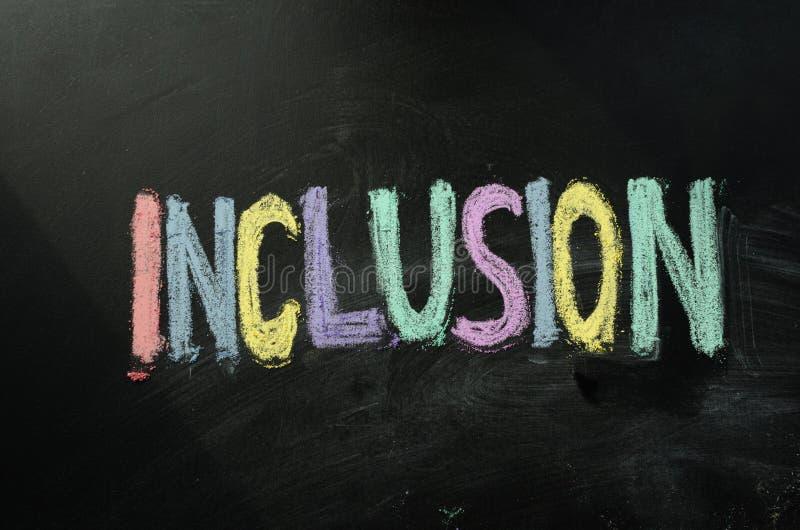 Inclusion écrite sur le tableau images libres de droits
