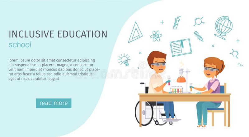 Inclusion Inclusive Education Cartoon Banner. With school headline and blue read more button vector illustration royalty free illustration