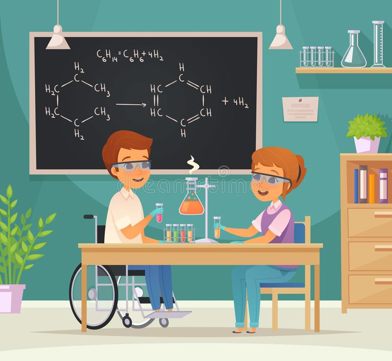 Inclusion Inclusive Education Cartoon Composition. Flat colored inclusion inclusive education cartoon composition two pupils in the laboratory vector royalty free illustration