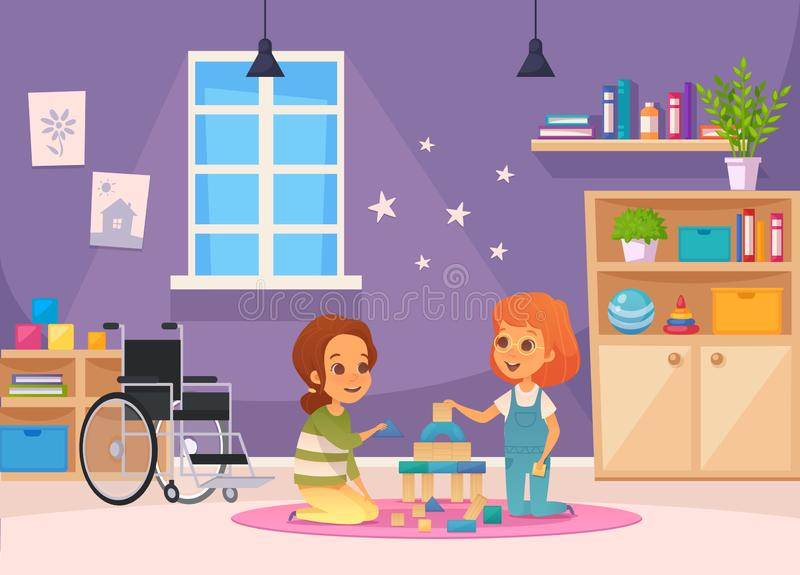 Inclusion Inclusive Education Cartoon Composition. Two children sit in the room and playing vector illustration vector illustration