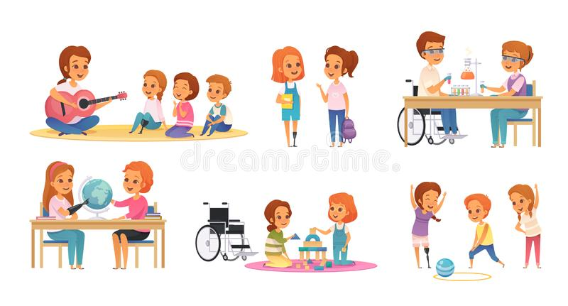 Inclusion Inclusive Education Cartoon Icon Set. Colored and cartoon inclusion inclusive education icon set with disabled children learn and play vector royalty free illustration