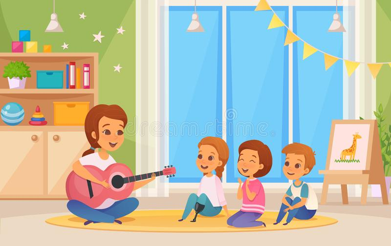 Inclusion Inclusive Education Composition. Colored and cartoon inclusion inclusive education composition with teacher who plays guitar vector illustration royalty free illustration