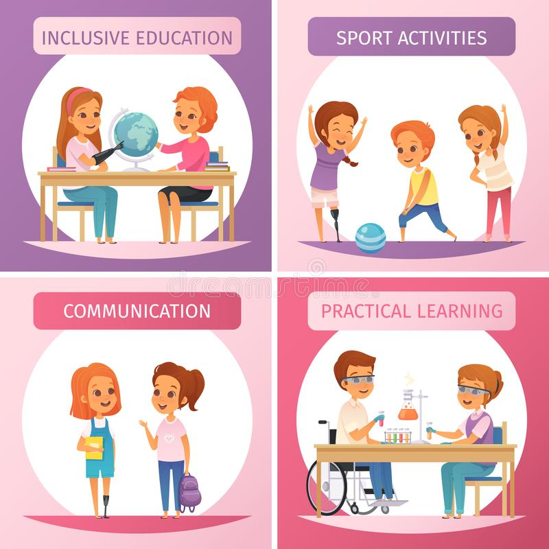 Inclusion Inclusive Education Icon Set. Four squares inclusion inclusive education icon set with inclusive education communication sport activities and practical stock illustration