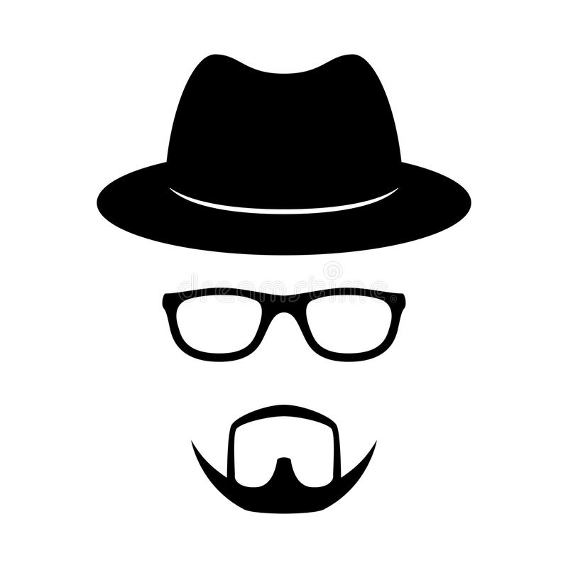 Incognito icon. Man face with glasses, beard and hat. Photo props. Vector royalty free illustration