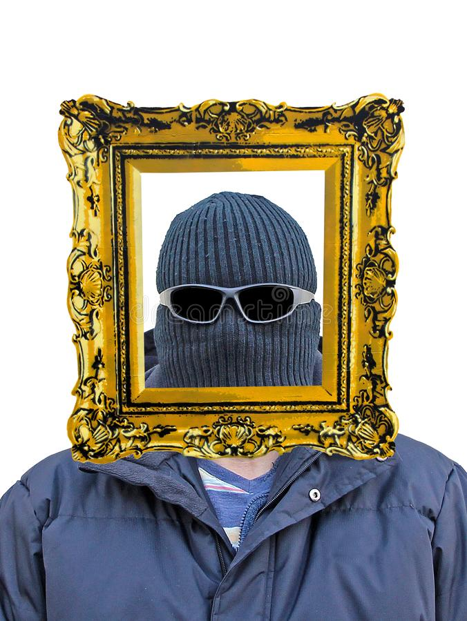 Incognito masked mask man person hooded hood disguise glasses shades royalty free stock photography