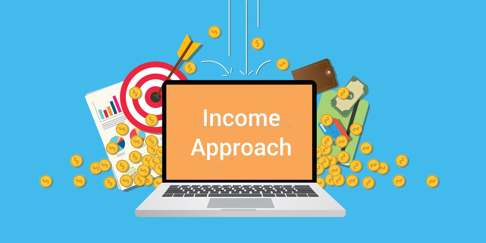 Income approach illustration with text on laptop display with business icon money gold coin falling from sky and graph royalty free illustration
