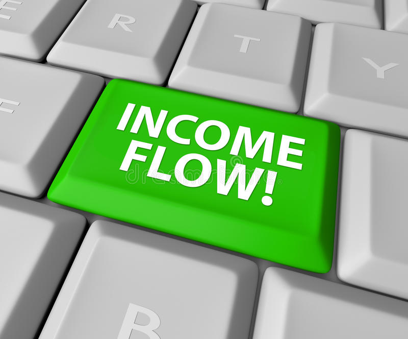 Income Flow Earning Money Investment Profit Revenue Keyboard But. Income Flow words on a green key or button on a computer keyboard to illustrate additional royalty free illustration
