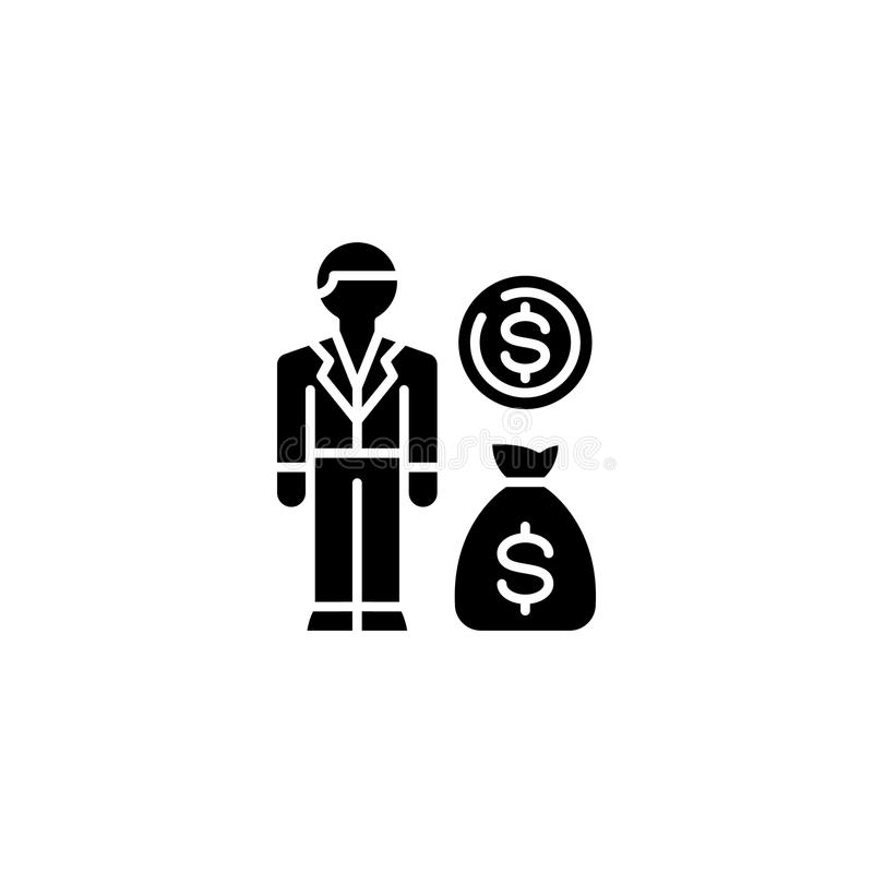 Income generation black icon concept. Income generation flat vector symbol, sign, illustration. Income generation black icon concept. Income generation flat stock illustration