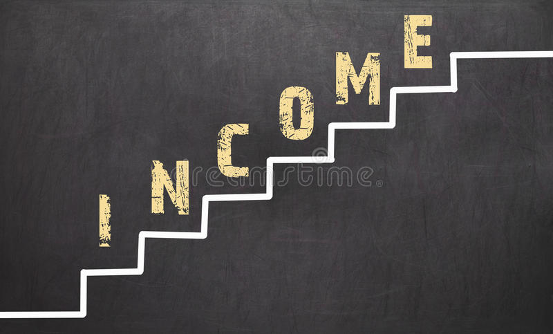Income Growth on black chalkboard. With the hand of businessman royalty free stock photo