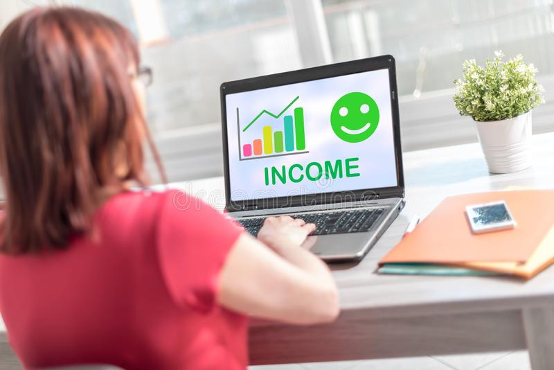 Income growth concept on a laptop screen. Laptop screen displaying an income growth concept royalty free stock photos