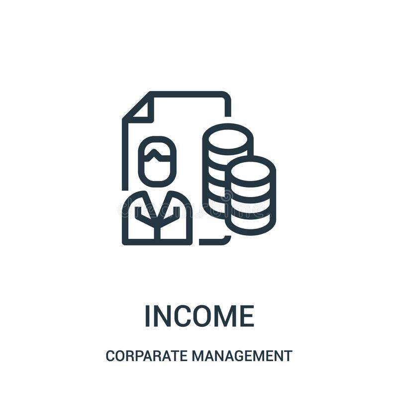 Income icon vector from corparate management collection. Thin line income outline icon vector illustration. Linear symbol for use. On web and mobile apps, logo royalty free illustration