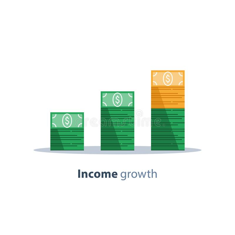 Income increase, financial strategy, return on investment, fund raising, long term increment, revenue growth, loan installment. Income increase, financial vector illustration