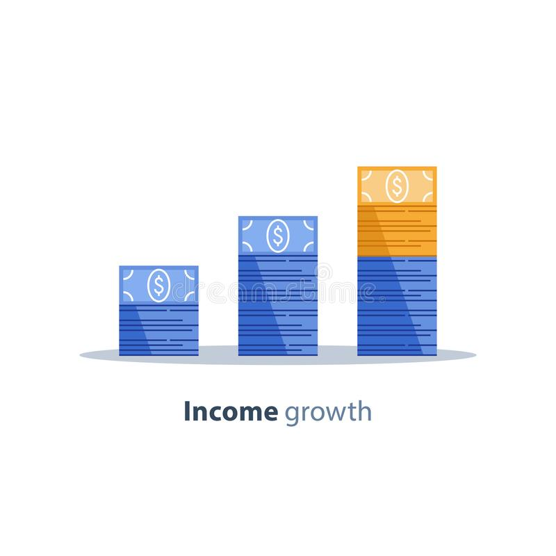 Income increase, financial strategy, return on investment, fund raising, long term increment, revenue growth, loan installment. Income increase, financial stock illustration