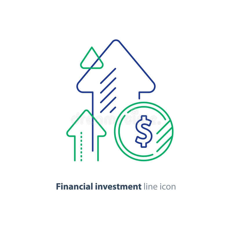 Income increase, lucrative investment, financial growth, fund rising, line icon. Financial growth, investment strategy plan, fund rising campaign, arrows and royalty free illustration