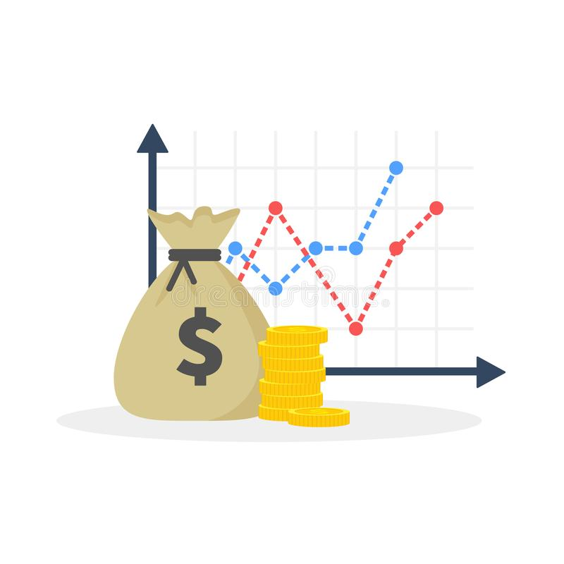 Income increase strategy, Financial high return on investment, fund raising, revenue growth, interest rate, loan. Installment, credit money, budget balance stock illustration