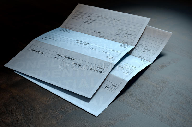 Income Inequality Paychecks. A 3D render concept showing two fictitious paychecks with a huge difference in the nett pay highlighting the income inequality vector illustration