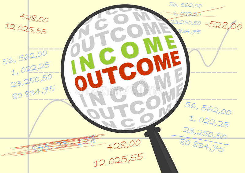 Income and outcome in magnifier. Income and outcome in a magnifying glass. Business illustration. Vector without gradients royalty free illustration